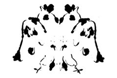 Rorschach inkblot test illustration, symmetrical abstract ink stains royalty free illustration