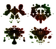 Rorschach test. Black handmade rorschach test set Royalty Free Stock Images
