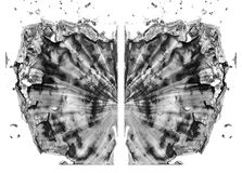 Rorschach test isolated on white illustration, random abstract black and white background. Psycho diagnostic inkblot test. royalty free illustration