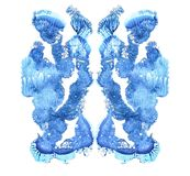 Rorschach test isolated on white illustration, random abstract blue background. Psycho diagnostic inkblot test. stock illustration