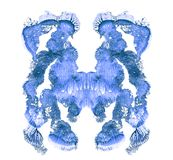 Rorschach test isolated on white illustration, random abstract blue background. Psycho diagnostic inkblot test. vector illustration