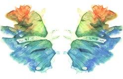 rorschach Vattenfärgbild abstrakt bakgrund Royaltyfria Bilder