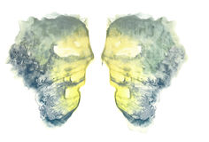 Rorschach. Yellow watercolor. Royalty Free Stock Images