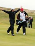 Rory Mcilroy célèbre aux 2011 ouverts Images stock