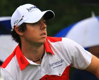Rory McIlroy from Northern Ireland. Watches his ball at the country club golf course on the PGA Tour Stock Photos