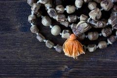 Rosário do mala de Japa - hinduism e rosário do buddism feito da árvore do tulsi para chanting do krishna da lebre fotografia de stock royalty free