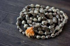 Rosário do mala de Japa - hinduism e rosário do buddism feito da árvore do tulsi para chanting do krishna da lebre foto de stock royalty free