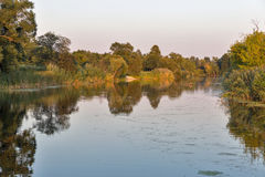 Ros river sunset landscape, Ukraine. Royalty Free Stock Photography