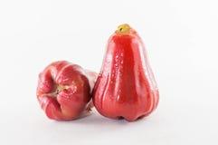Rosa äpplen eller chomphu som isoleras på vit med den snabba banan Arkivfoton