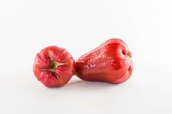 Rosa äpplen eller chomphu som isoleras på vit med den snabba banan Royaltyfri Bild