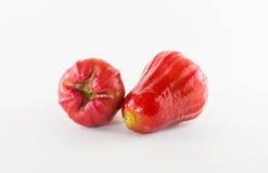 Rosa äpplen eller chomphu som isoleras på vit med den snabba banan arkivfoto