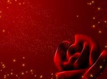 Rosa abstracta del rojo y estrellas brillantes Fotos de archivo