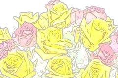 Rosa Abstraktion der gelben Rosen Lizenzfreie Stockfotos