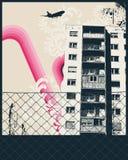 rosa affisch för stad stock illustrationer