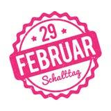 Rosa alemão de Schalttag 29 Februar Stempel em um fundo branco Ilustração Stock