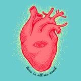 Rosa anatomisches Herz mit dem Auge auf blauem Hintergrund Taglineliebe ist alle, die wir benötigen Vektordatei vorhanden Vektor Lizenzfreies Stockbild