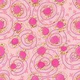 Rosa Aquarellpunkt, der nahtloses Muster zeichnet Stockfotografie