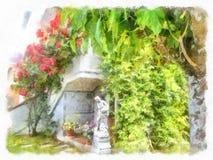 Rosa arbustos no jardim espanhol velho Pétalas de Rosa cor-de-rosa 01 Imagens de Stock
