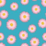 Rosa aster, Daisy Seamless på blå bakgrund också vektor för coreldrawillustration royaltyfri illustrationer