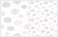 Rosa astratto lanuginoso e Gray Clouds con pioggia di forma della stella isolata su un fondo bianco royalty illustrazione gratis
