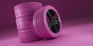 Rosa Autoräder auf rosa Hintergrund Frauen, die Konzept laufen Plakatdesign stapel Abbildung 3D lizenzfreies stockbild