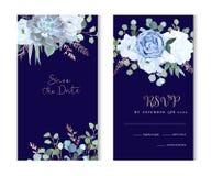 Rosa azul polvorienta, echeveria suculento, hortensia, ranúnculo, ane ilustración del vector