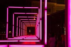 Rosa bågar av ljus som installeras på floden, promenerar under den Singapore floden på nätterna 2015 Royaltyfri Bild