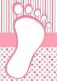 Rosa Baby-Fuß-Rahmen mit Tupfen und Streifen Stockbild