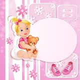 Rosa baby showerkort Royaltyfri Fotografi