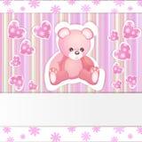 Rosa baby showerkort Royaltyfria Bilder