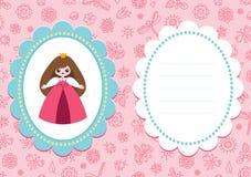 Rosa Babykarte mit kleiner Prinzessin Stockfotos