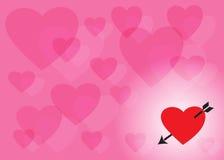 Rosa bakgrund av genomskinlig hjärtor och hjärta med en pil Arkivfoton