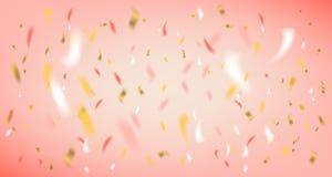 Rosa bakgrund för diskoparti med foliekonfettier royaltyfri illustrationer