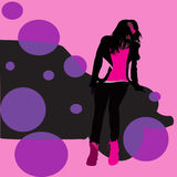 Rosa bakgrund, kvinnlig kontur, diagram Royaltyfri Illustrationer