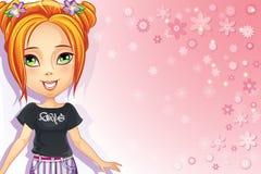 Rosa bakgrund med blommor och flickatonår Arkivbild