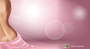 Rosa bakgrund med kvinnakroppen Hudomsorg eller annonsmall realistisk konturillustration för kvinna 3D Nakenstudie för pastellfär Royaltyfri Foto