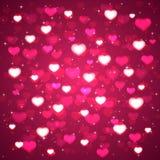 Rosa bakgrund med oskarpa hjärtor stock illustrationer