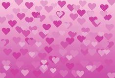 Rosa bakgrund med rosa hjärtor Royaltyfri Bild