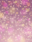 Rosa bakgrund med snöflingan och bokeh, vektor stock illustrationer