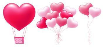 Rosa ballonger i hjärtaform royaltyfri illustrationer