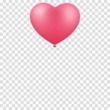 Rosa Ballonherz lokalisiert auf einem transparenten Hintergrund Grafisches Element für Ihr Design Glücklicher Valentinsgrußtag Ro Lizenzfreie Stockfotografie