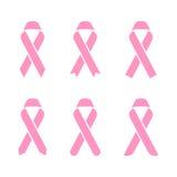 Rosa Band Brustkrebs-Ikonenillustration, flaches Farbdesign Stockfotos