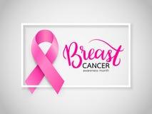 rosa bandsymbol Aktion för bröstcancermedvetenhetmånad stock illustrationer