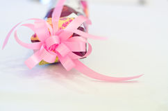 rosa bandtabellwhite Royaltyfri Fotografi