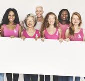 Rosa begrepp för baner för utrymme för kopia för bandbröstcancermedvetenhet Royaltyfri Foto