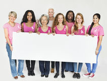 Rosa begrepp för baner för utrymme för kopia för bandbröstcancermedvetenhet Royaltyfria Foton