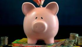 Rosa begrepp för spargrispengar på mörker - blå bakgrund Fotografering för Bildbyråer