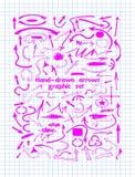 Rosa beståndsdelar för grafisk design och hand-drog pilar Arkivbild