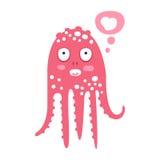 Rosa bläckfisktecken för gullig tecknad film som drömmer, rolig illustration för vektor för havkorallrev djur Arkivfoto