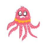 Rosa bläckfisktecken för gullig yr tecknad film med roterande ögon, rolig illustration för vektor för havkorallrev djur Arkivbilder